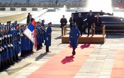 贝尔格莱德塞尔维亚 2019年1月17日 俄罗斯联邦的弗拉基米尔・普京总统,正式访问的向贝尔格莱德,塞尔维亚 库存图片
