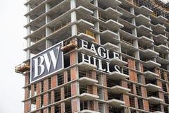 贝尔格莱德江边高层建筑物建造场所 免版税库存图片