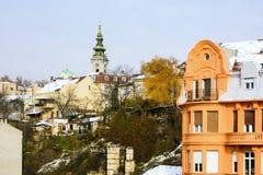 贝尔格莱德,塞尔维亚- 2017年12月4日:贝尔格莱德冬天场面与 库存图片