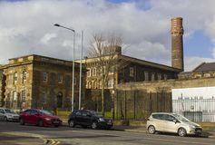 贝尔法斯特北爱尔兰现在使用的历史的克拉姆林路监狱,一个现代博物馆和访客集中与准备好它的开放的门 图库摄影