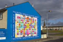 贝尔法斯特北爱尔兰街艺术墙壁壁画在Shankhill和克拉姆林路的锤子地区 库存图片