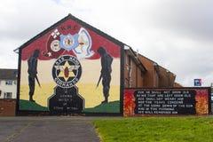 贝尔法斯特北爱尔兰街艺术墙壁壁画在Shankhill和克拉姆林路的锤子地区 库存照片