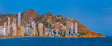 贝尼多姆海边的全景图象 西班牙 图库摄影