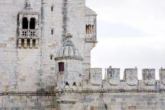 贝拉母的墙壁,塔Torre在塔霍河的de贝拉母,里斯本,葡萄牙 图库摄影