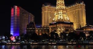 贝拉焦喷泉在晚上与 股票视频