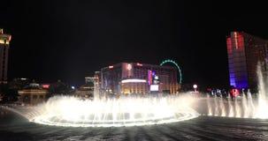 贝拉焦喷泉在晚上 股票录像