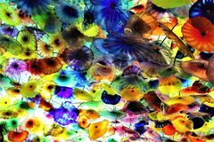 贝拉焦,拉斯维加斯玻璃花天花板  库存照片