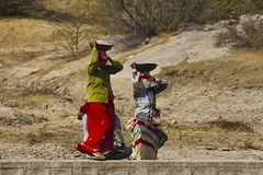 贝拉,拉贾斯坦,印度4月2014传统妇女民工走  库存照片