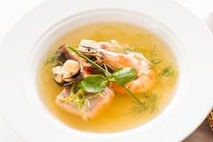 贝类纤巧汤背景食家膳食 免版税库存照片