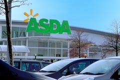 贝辛斯托克,英国- 2016年12月05日:存放ASDA超级市场的前面在布赖顿小山 免版税图库摄影