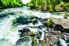 贝里` s滑道,一个狭窄的部分在Clearwater河,在维尔斯灰色省公园 免版税图库摄影