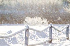 贝雷帽蓝色焰晕外套父亲高尔夫球外套妈咪红色降雪的儿子结构冬天 图库摄影