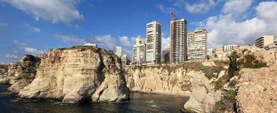 贝鲁特海岸线黎巴嫩全景 免版税库存图片