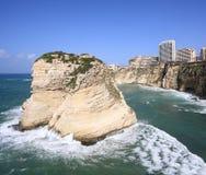 贝鲁特黎巴嫩鸽子岩石 图库摄影