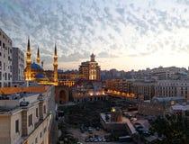 贝鲁特,黎巴嫩:微明的街市 免版税图库摄影