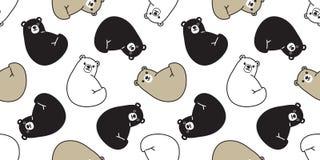 负担无缝的北极熊传染媒介样式熊猫女用连杉衬裤围巾被隔绝的瓦片背景动画片重复墙纸例证 皇族释放例证