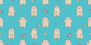 负担无缝的样式传染媒介北极熊女用连杉衬裤愉快的蘑菇森林被隔绝的背景墙纸 皇族释放例证