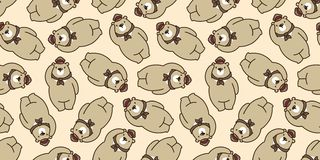 负担无缝的样式北极熊传染媒介被隔绝的熊猫女用连杉衬裤围巾帽子盖帽背景重复墙纸褐色 皇族释放例证