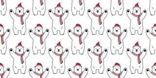 负担无缝的样式圣诞节传染媒介北极熊圣诞老人帽子动画片围巾被隔绝的瓦片背景墙纸 皇族释放例证
