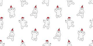 负担无缝的样式圣诞节传染媒介北极熊舞蹈圣诞老人帽子瓦片背景重复墙纸例证动画片 皇族释放例证