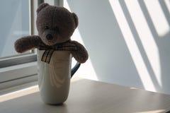 负担有坐由在阴影的窗口的杯子的玩具 免版税库存图片