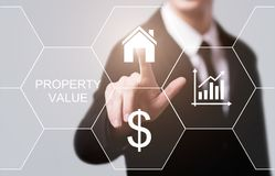 财产价值不动产市场互联网企业技术概念 免版税库存照片