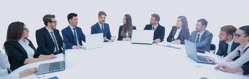财务主任写一个报告在工作会议 库存照片