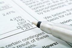 财务写作指向语句 免版税库存照片