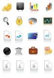 财务图标的向量例证 免版税库存照片