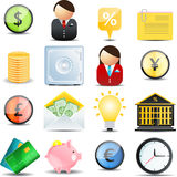 财务图标被设置的向量 库存例证