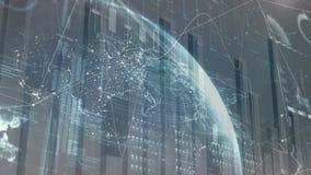 财务数据桌和数字地球反对黑暗的背景 库存例证