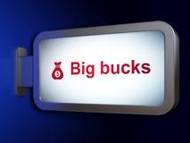 财务概念:大钱和金钱在广告牌背景请求 免版税库存照片