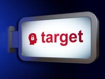 财务概念:目标和头有挂锁的在广告牌背景 库存图片