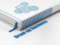 财务概念:预定计算器,招徕在白色背景的事务 免版税库存照片