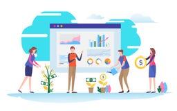 财务的协助 事务,投资管理 平的动画片微型例证向量图形 库存例证