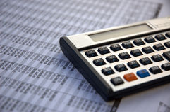 财务的计算器 免版税库存照片
