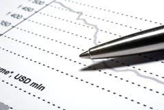 财务笔报表钢 库存图片