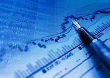 财务背景蓝色的图表 免版税库存照片