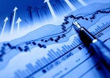 财务背景蓝色的图表 库存照片