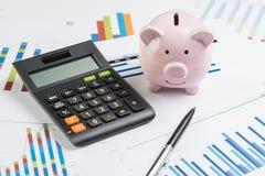 财务,金钱预算计划概念,在堆的黑笔pap 免版税库存照片