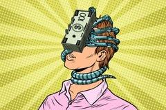 财政依赖性,有金钱寄生生物的一个人在面孔 库存例证