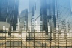 财政图表和图在被弄脏的商业中心背景 Invesment和贸易的概念 库存照片