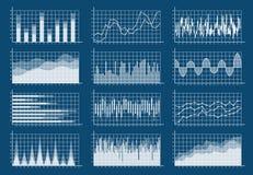 财政图集合 图表平展排行财务贸易统计市场成长企业infographic图的分析 库存例证