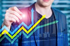 财政成长箭头图表 投资和贸易的概念 库存照片