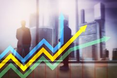 财政成长箭头图表 投资和贸易的概念 库存图片