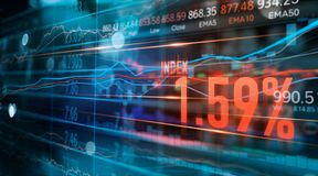 财政股票市场数字和外汇贸易图表、事务和股票市场数据,在技术的金融投资概念 免版税库存图片