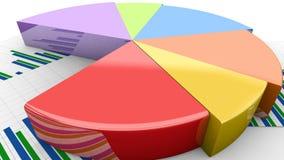 财政饼动画,图表增长,五颜六色的收入分布形象图 库存例证