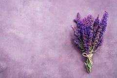 贤哲野花花束在紫色抽象背景,葡萄酒样式的 在头顶上,拷贝空间 免版税图库摄影
