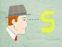 货币凝视 库存例证
