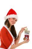 货币圣诞老人妇女 免版税库存图片